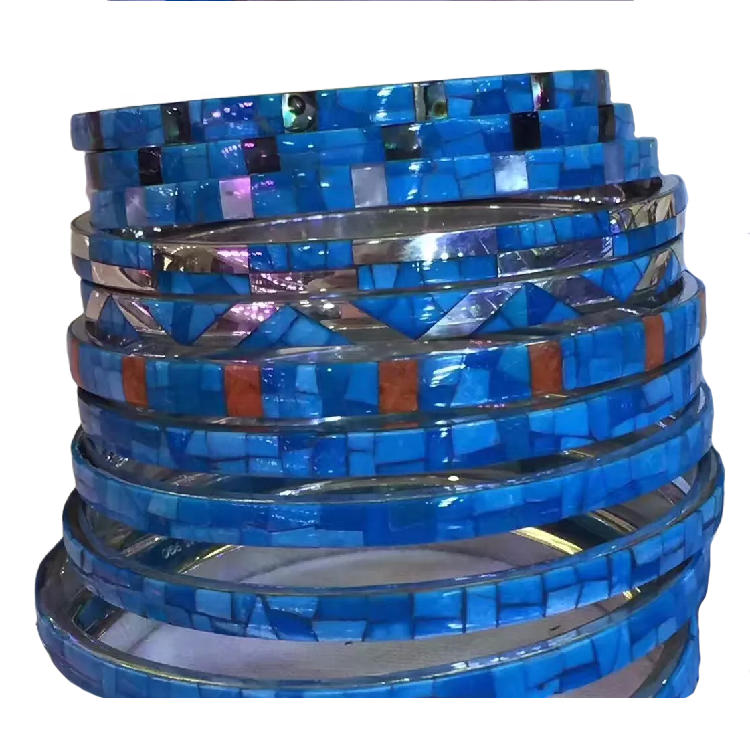 Silver Toned turquoise Mosaic Bangles Turquoise Mosaic Brass Bangles