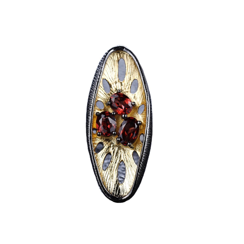Red garnet silver rings