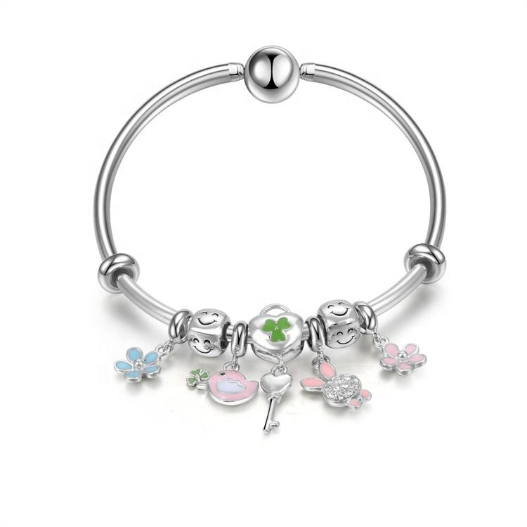 Good quality  Womens  Natural Crystal 925 Sterling Silver Jewelry Charm Bracelet