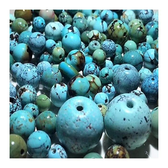 Turquoise round Beads Fashion Genuine Natural Turquoise Round Beads Genuine Blue Green Turquoise