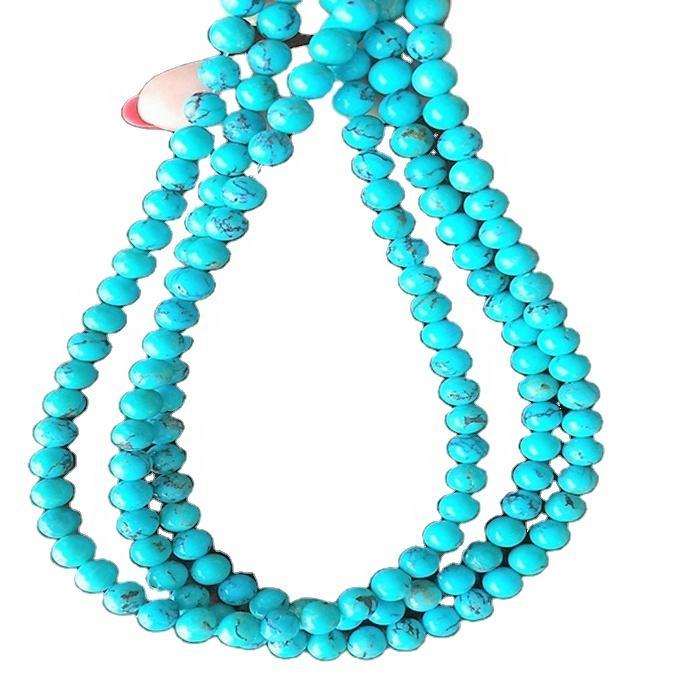 Turquoise round beads Genuine Natural Round Precious Natural Smooth Turquoise Gemstone Beads
