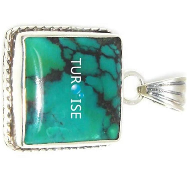 Turquoise inlay silver pendant Turquoise pendant in silver gold Tiny Kingman turquoise briolette pendant