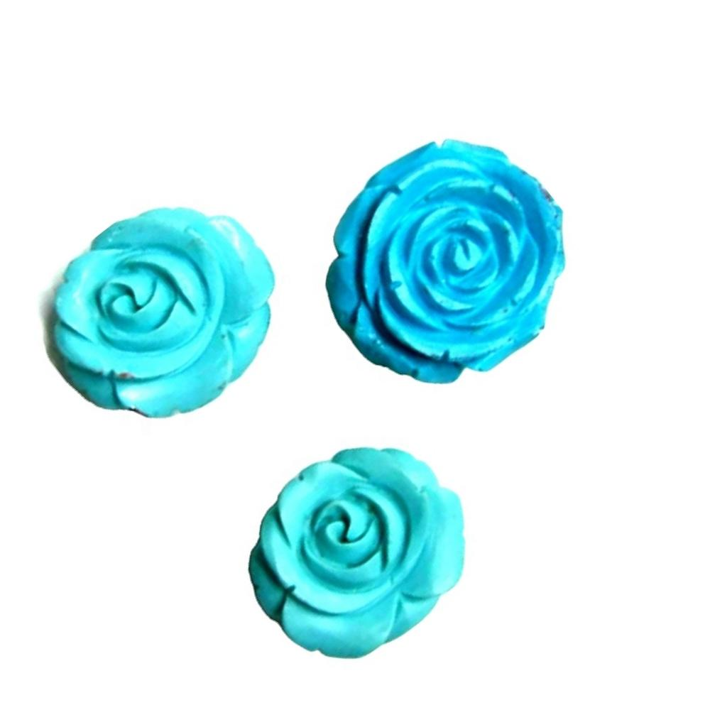 Wholesales natural 14MM Queen Blue Turquoise Beads Grade AAA Rose Carved Stone Flower Beads