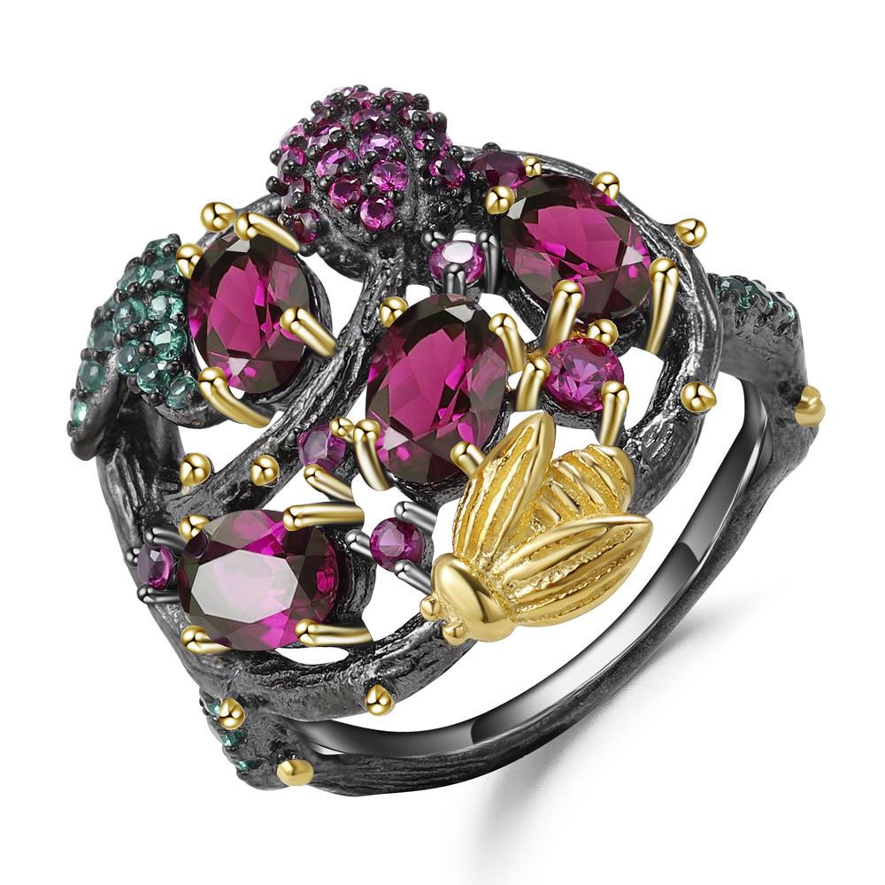 925 silver purple garnet rings epidote ruby zoisite rings