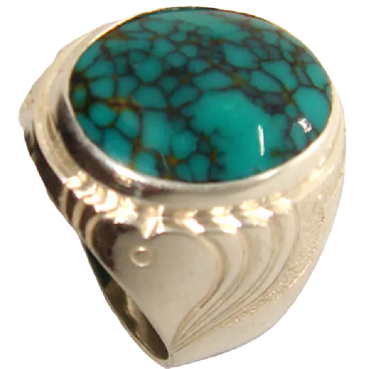 Natural turquoise finger ring jewellery Round Bluebird Turquoise Ring