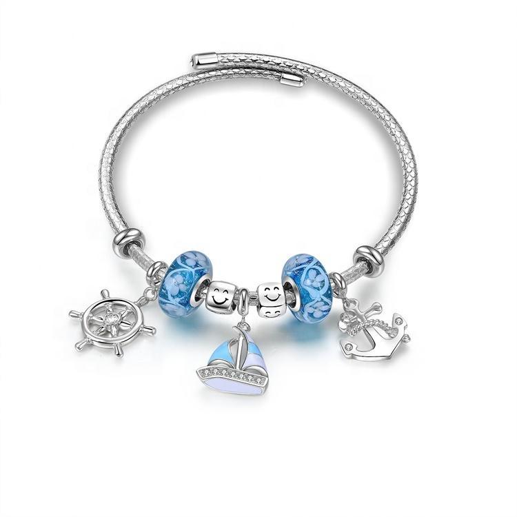 ZH 925 Sterling Silver Plated Bracelets With Pink Zircon Jewelry Fashion Bracelets