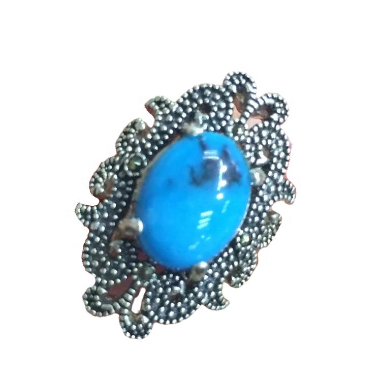 Fashion jewelry enamel paint rings Handmade turquoise Gemstone Ring