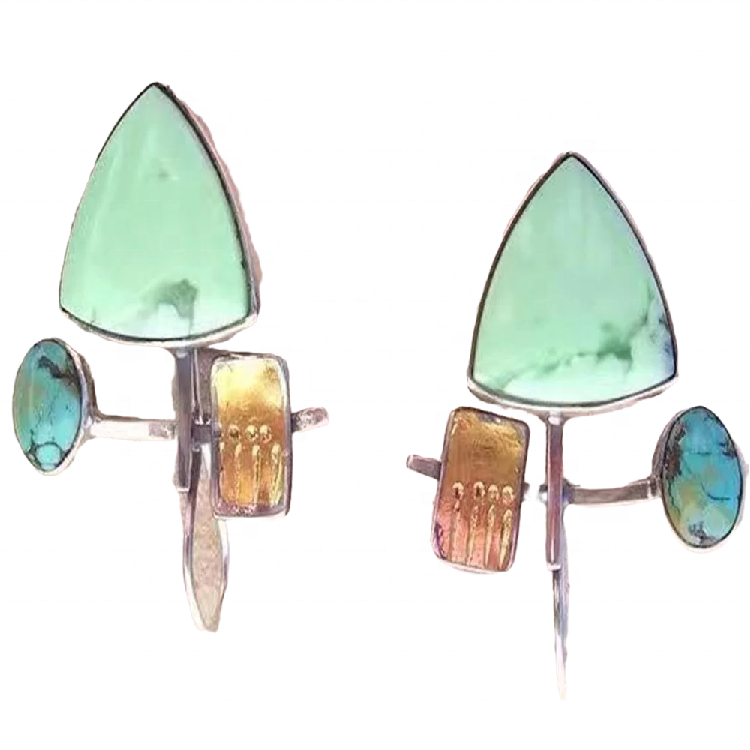 Natural Turquoise Square drop Earrings Dainty Dangly Turquoise Earrings