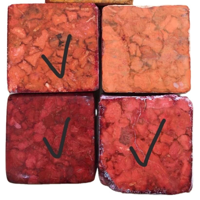 Dark red color coral gemstone bricks make wholesale
