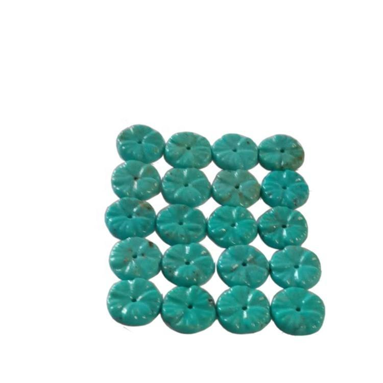 Natural Turquoise Flower Carving Beads Flower Shape Compressed Turquoise Great To Use In Order To Make Your Own Jewelry
