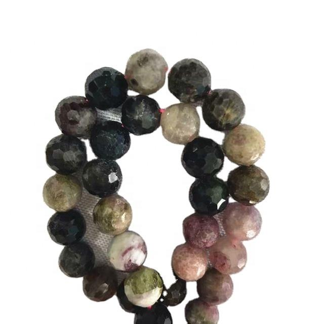 Natural Tourmaline Round faceted  shape beads mixed color gemstone strings
