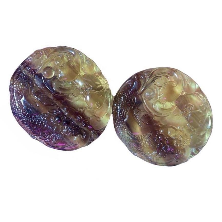 Fluorite carved round shape gem pendant/Gold plated pendant/Fluorite pendant