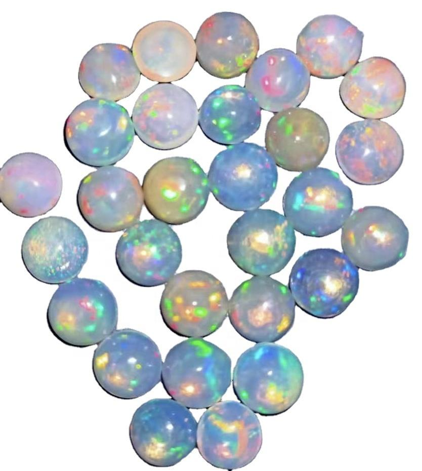 5mm Natural White Ethiopian Opal Semi Precious Gemstone Smooth Cabochon Supplier Wholesale Factory Price