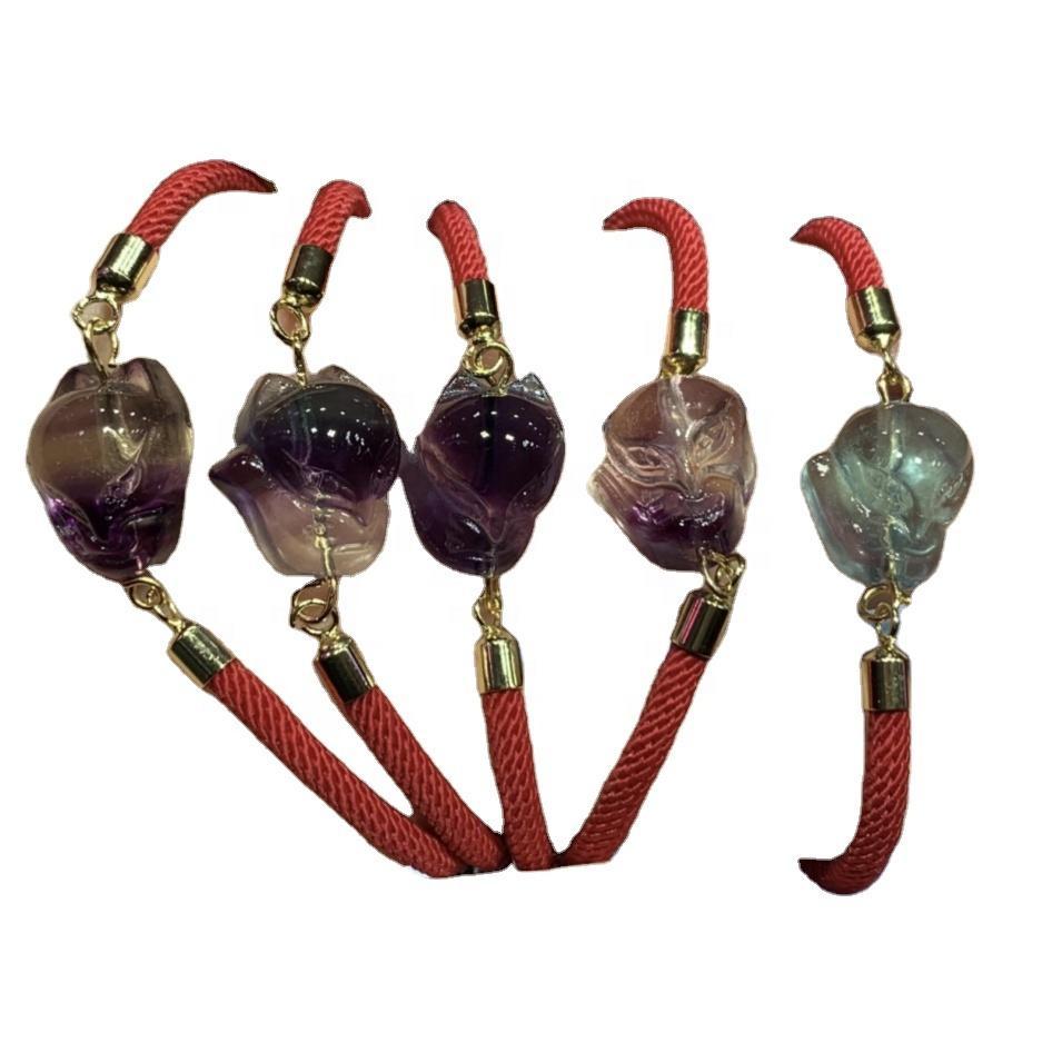 Fluorite Bracelet  Natural Stone  Healing  Hand Made Bracelet  Macrame  Friendship  Gift  Boho  Minimalist