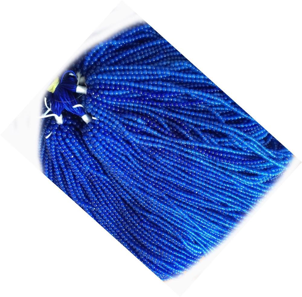 Strand of Blue Mashan Jade Plain Round Beads