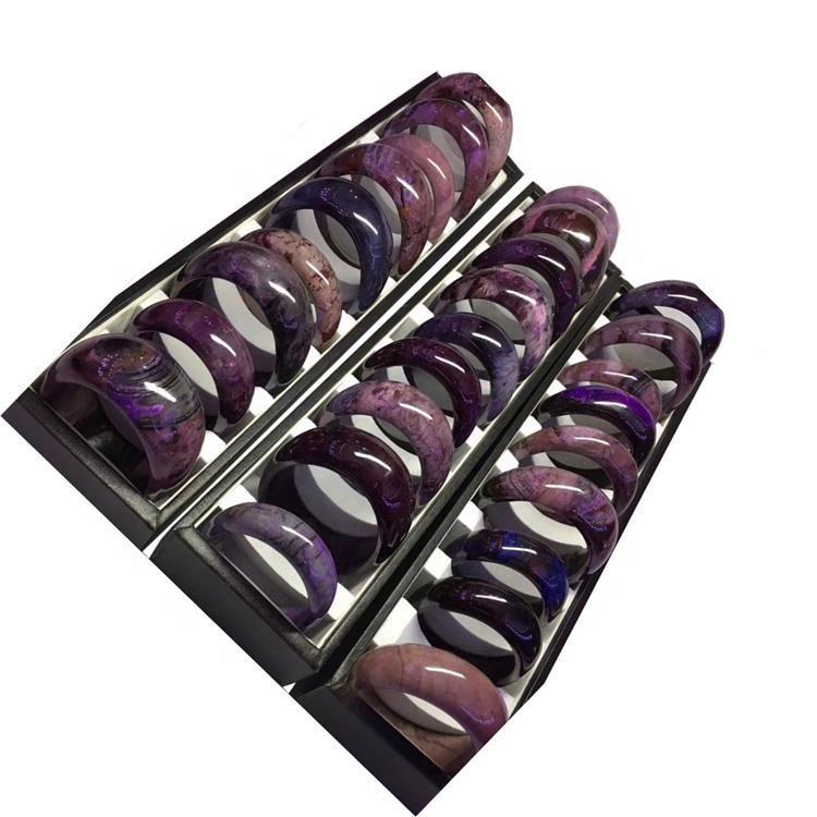 Purple sugilite bangle rough stone bead wholesale  Gemstone charm jewelry women girl cute gift
