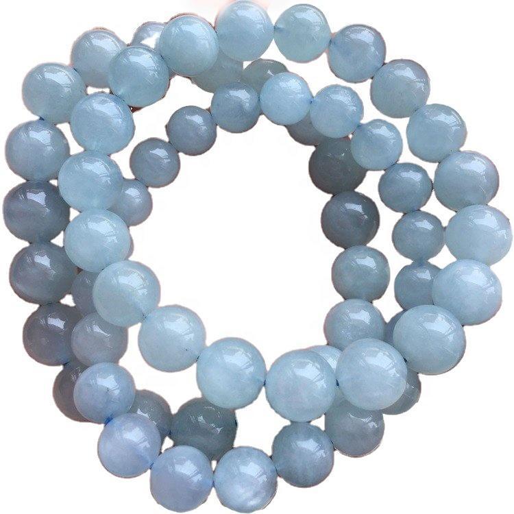 wholesale Highest Genuine Natural Blue  Aquamarine Bracelet beads  gemstone