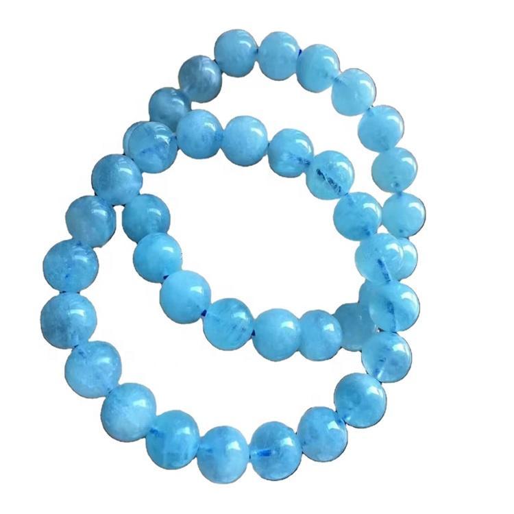 milky blue aquamarine beads gemstone bracelet/Ladies bracelet/Customizable bracelet