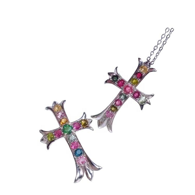 Lady Grace chain strand Natural Multicolor Tourmaline Cross necklace charming Pendant Necklace jewelry