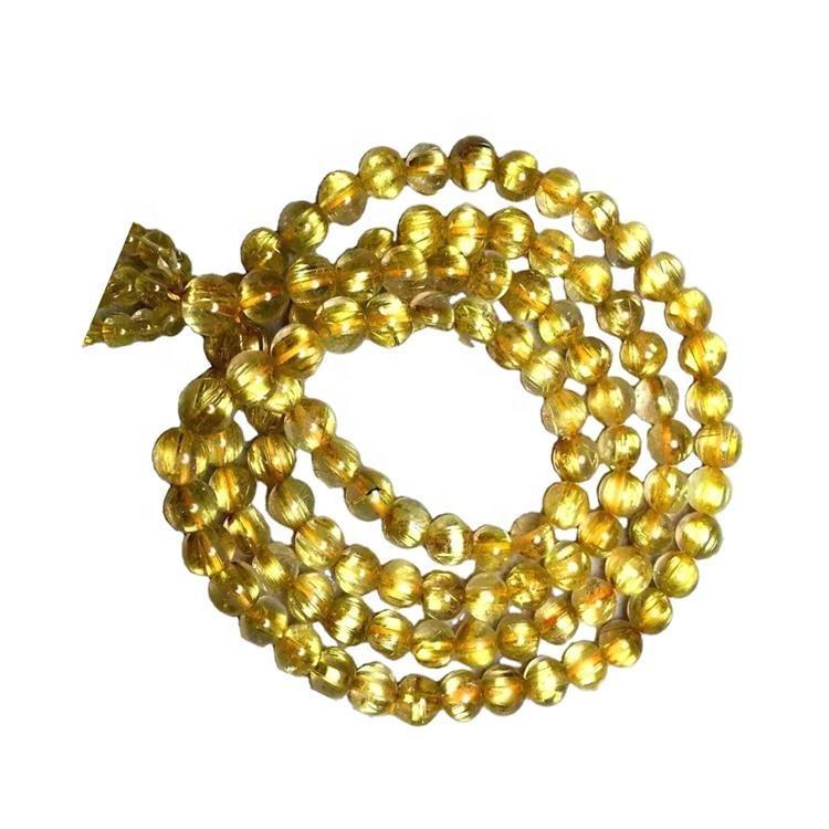 natural and high quality Golden Rutilated Quartz gemstone necklace