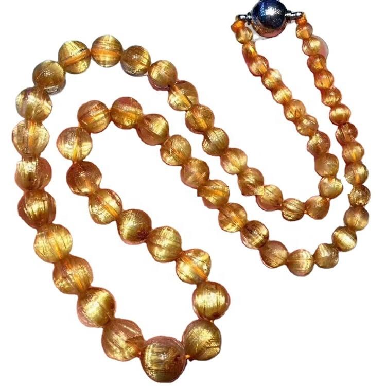 4mm to 10mm turriform round beads Titanium Rutilated quartz gemstone necklace