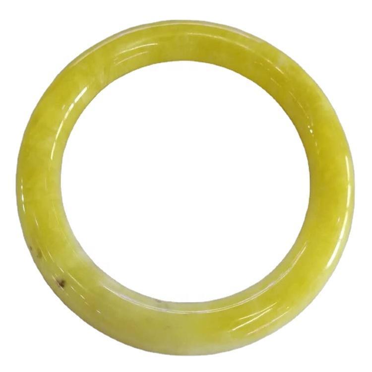 Yellow Smithsonite bangle make wholesale  Natural Calcite Smithsonite Crystal Gemstone Bangle all Yellow Peach Huanglong Bangle