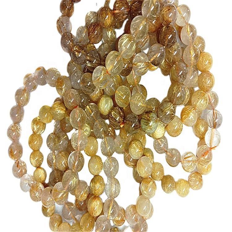 Natural  Golden Rutilated Bracelet   Smooth gemstone  bracelet