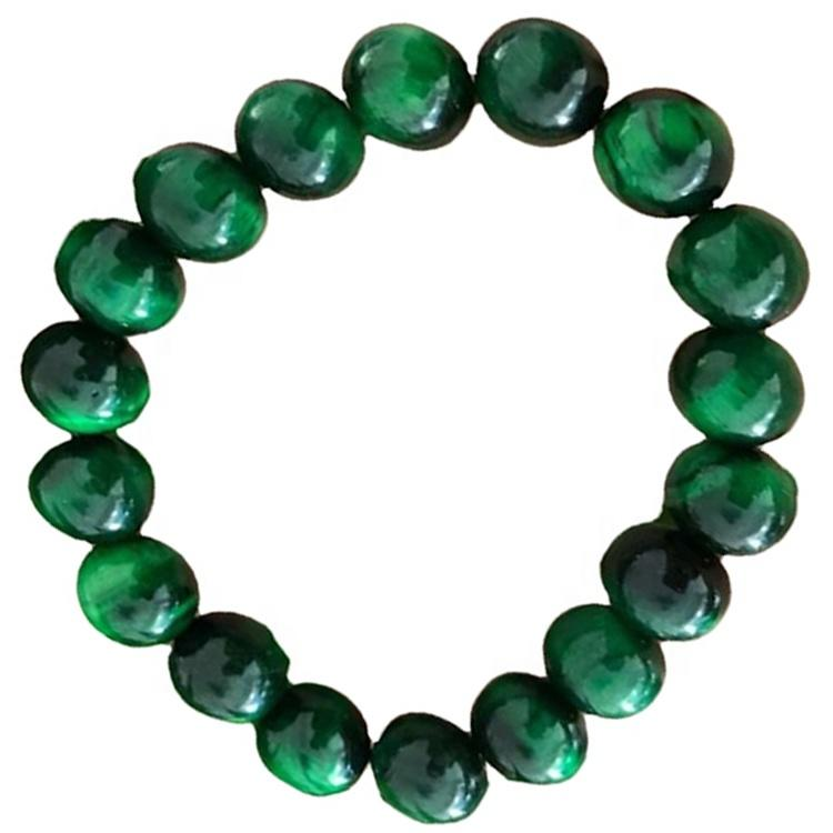 Natural green tiger eye bracelet round shape beads/Smooth gemstone bracelet
