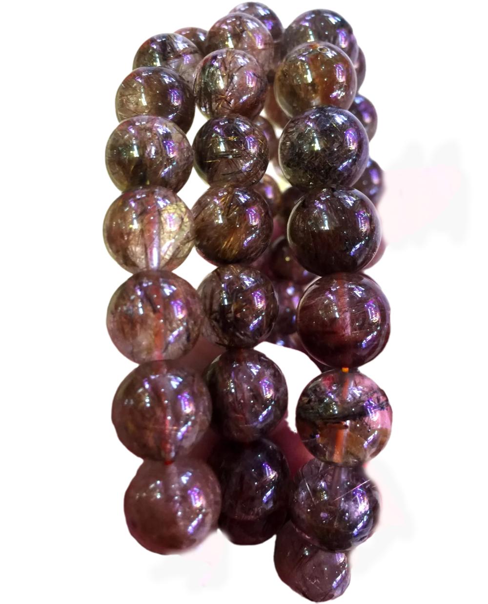 Top quality gemstone round beads bracelet jewelry Colorful Rutilated quartz Bracelets