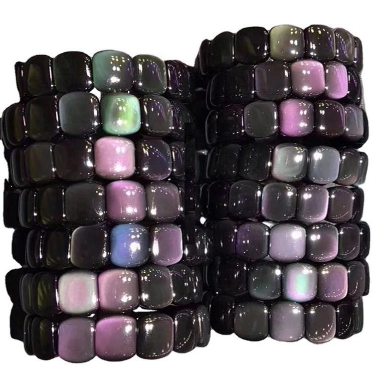 100% naturally shiny colorful Obsidian Bracelets Bangles jewellery make wholesale