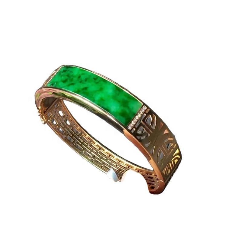 High Quality 18K gold emerald Ring and Bangle jewellery  Genuine Green Emerald Bracelet