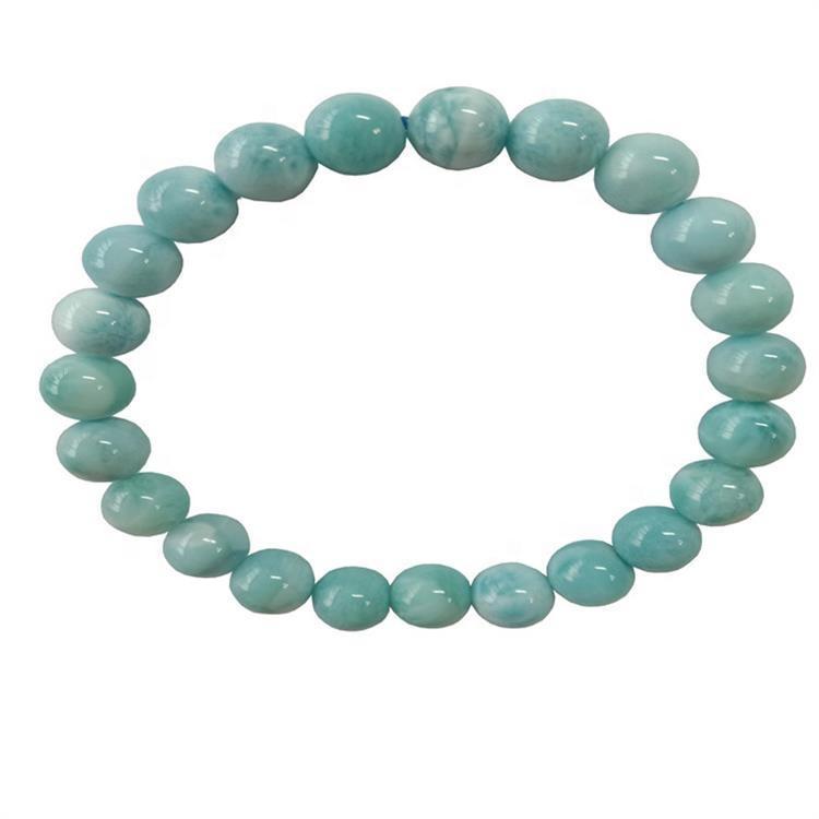 Natural Blue Larimar Bracelet Jewelry For Women  Stretch Round Beads GemStone Fashion Bracelet