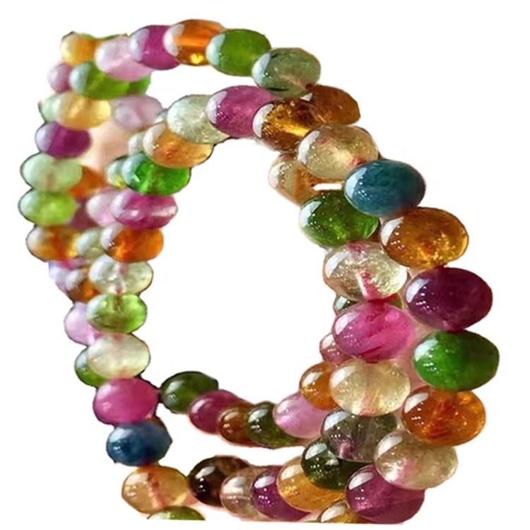 Natural Gemstone Round Beads Tourmaline Crystal Bracelet For Sale Honey Yellow Beeswax Color Bracelet