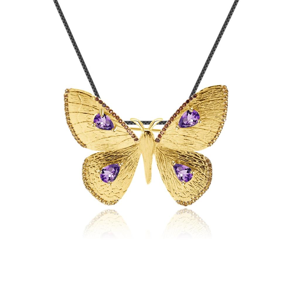 Butterfly shape gold-plated Inlaid amethyst necklace pendant