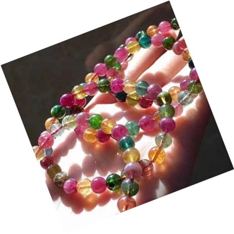 Adjustable Braided Rope Tourmaline Bead Bracelet Gemstone Yoga Wrist Bracelet Jewelry