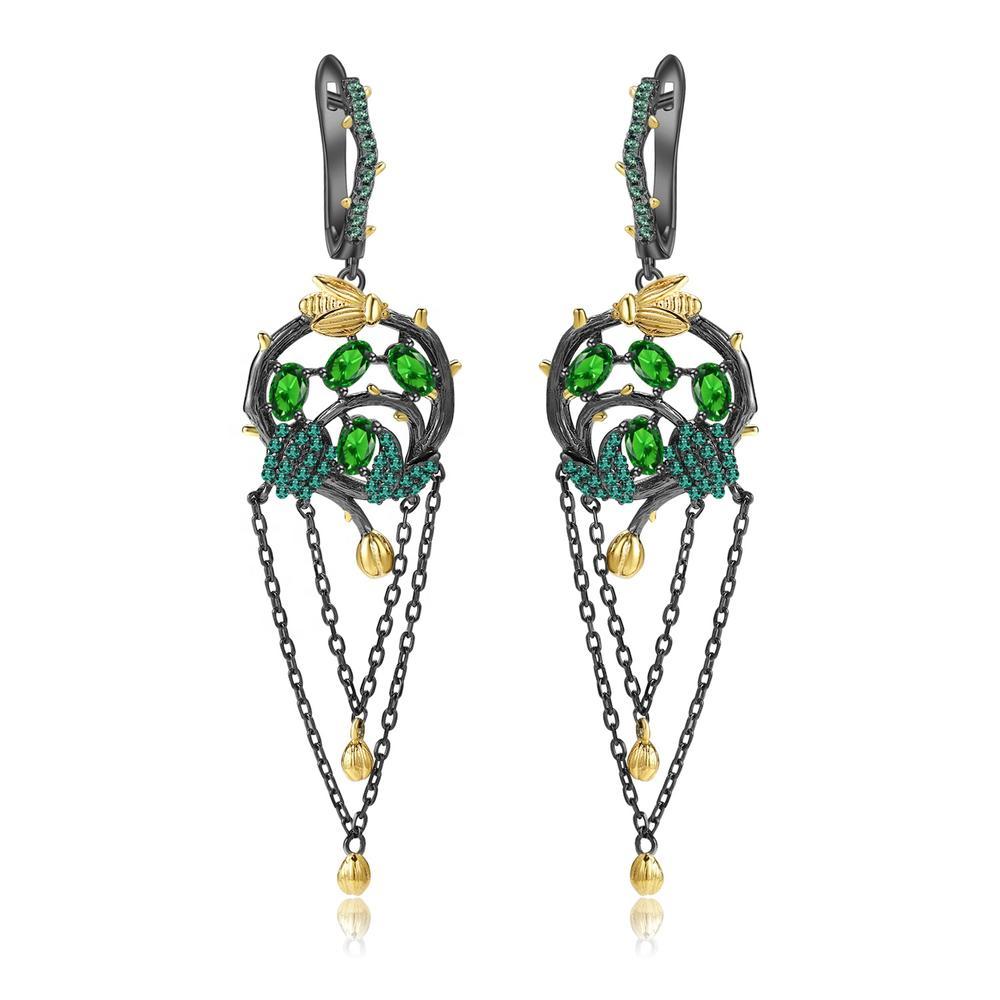 Emerald earrings/Gold-plated earrings