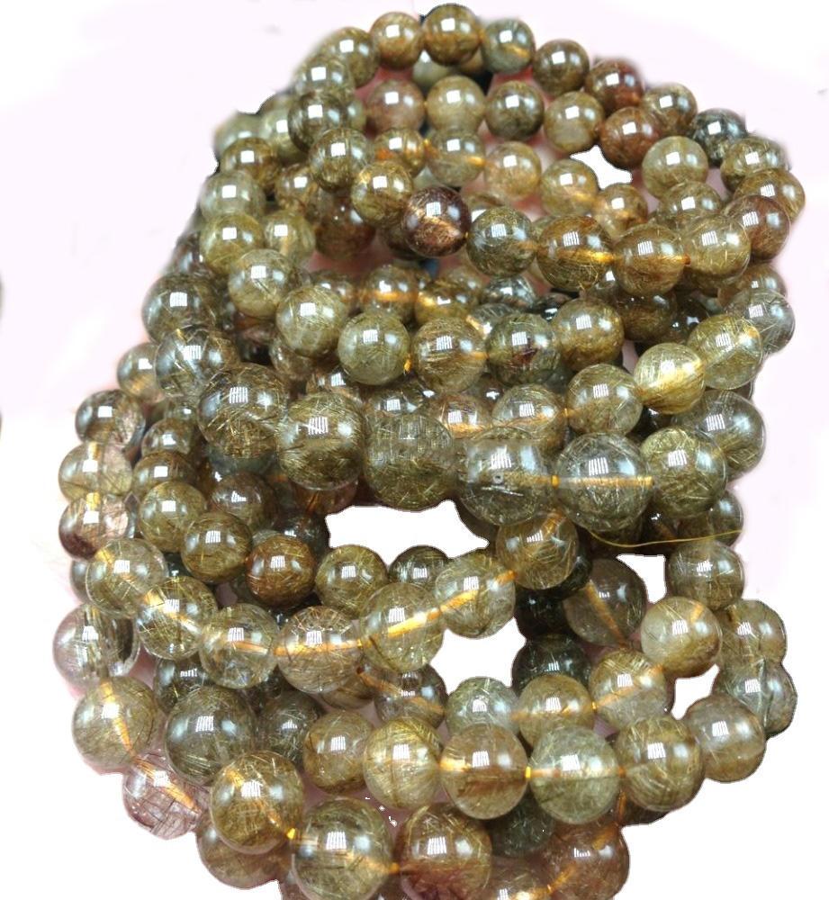 nice round natural precious copper rutilated quartz bracelet