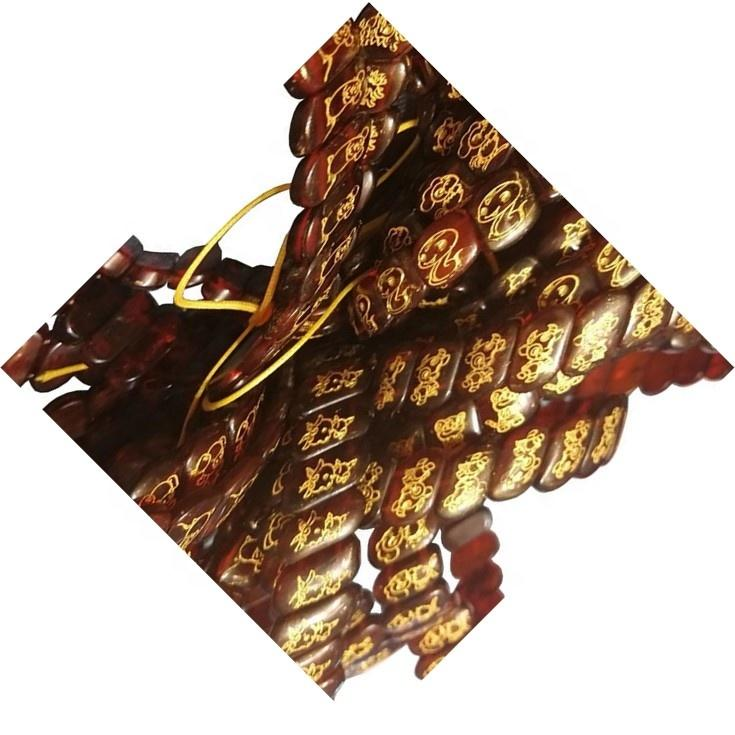 Natural red amber zodiac gold plated carving squares shape string  jewelry