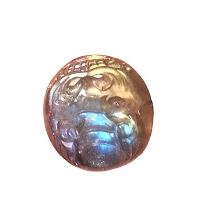 natural multi fire top quality Labradorite carved gemstone
