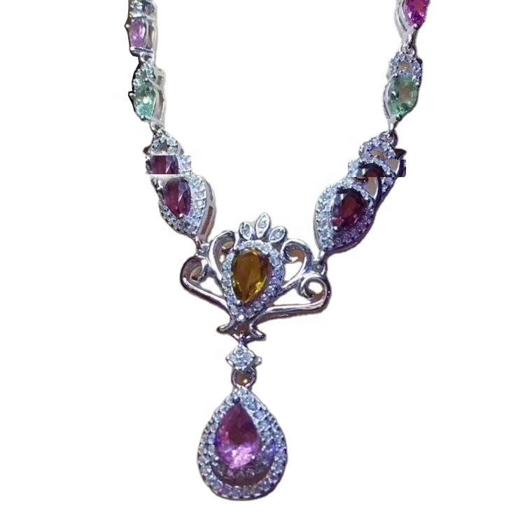 Multicolor cabs RUBELLITE TOURMALINE 925 sterling silver jewejries necklace jewelry