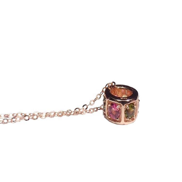 Elegant  Natural pleochroic Tourmaline necklace gold  necklace Tourmaline Gemstone For woman jewelry