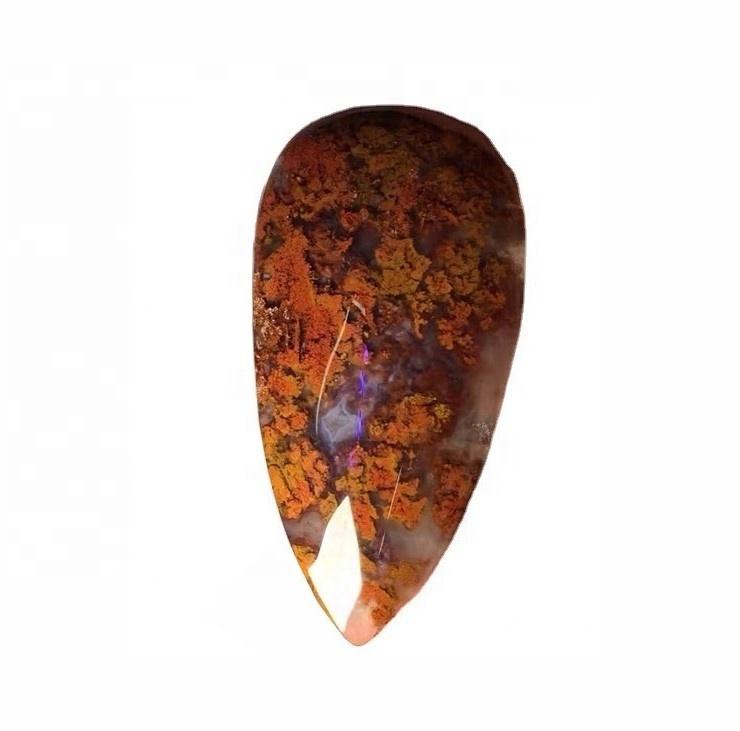 Brown Moss agate Cabochon Flat Gemstone loose gemstone pear shape Moss agate
