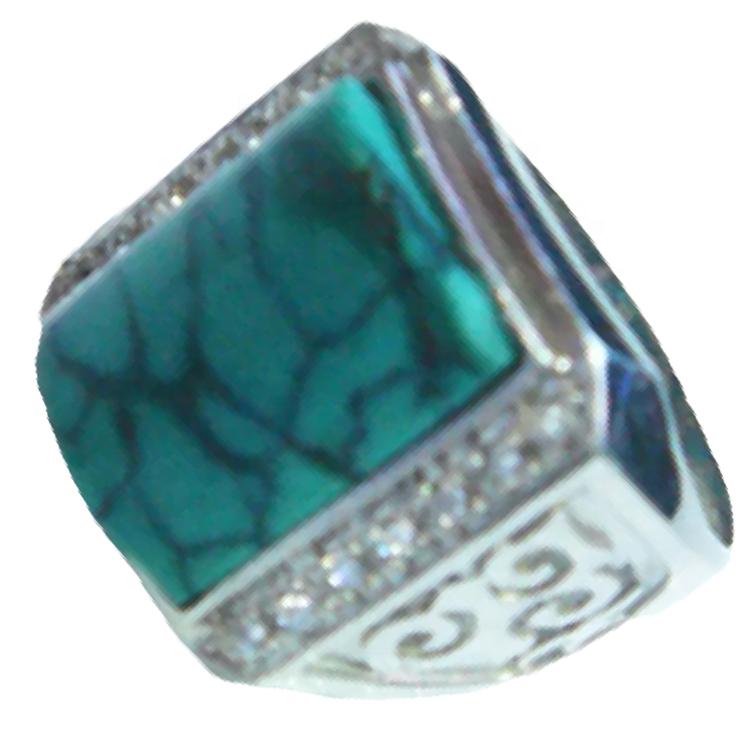Diamond and turquoise wedding ring