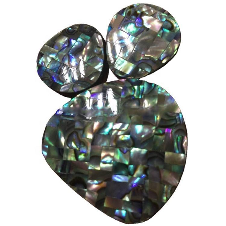 Abalone shell pendant teardrop sea shell pendant mosaic abalone pendant paua shell obsidian Mosaic cabochons