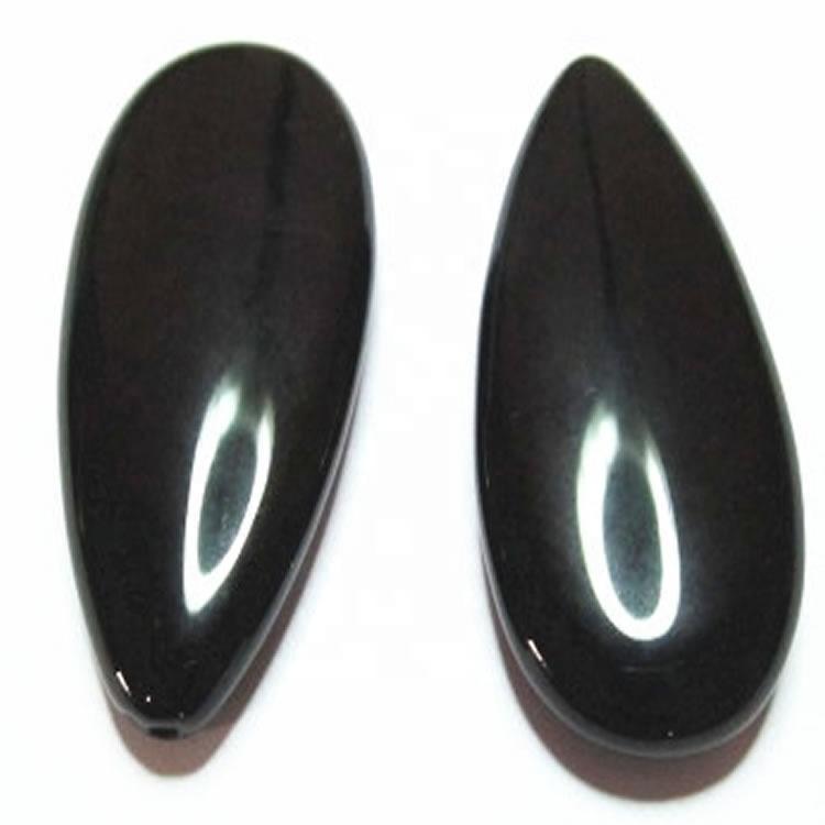 Black Onyx  10x14x5mm pear shaped Black Onyx cabochon loose stones