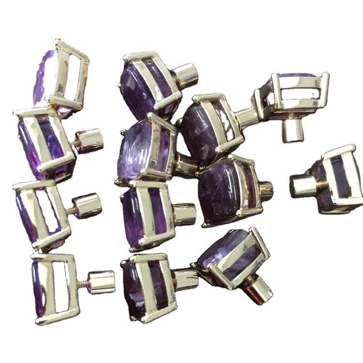 Amethyst gemstone silver cufflinks