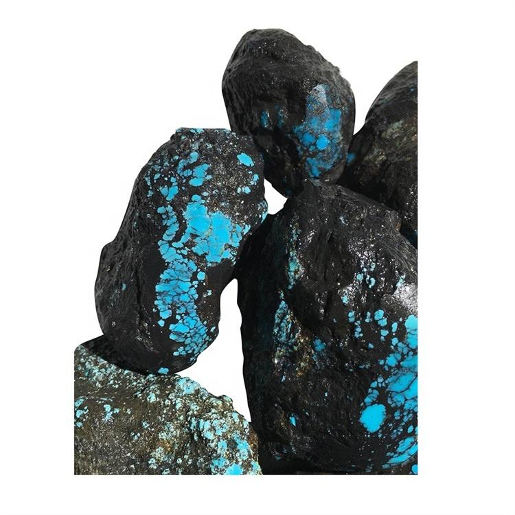 Genuine dark blue spiderweb quality Natural Turquoise Rough material gemstone Spiderweb Turquoise from China