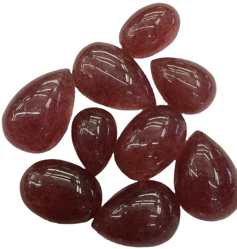 AAA Quality Natural Strawberry Quartz Cabochon For Jewelry Making Loose Gemstone