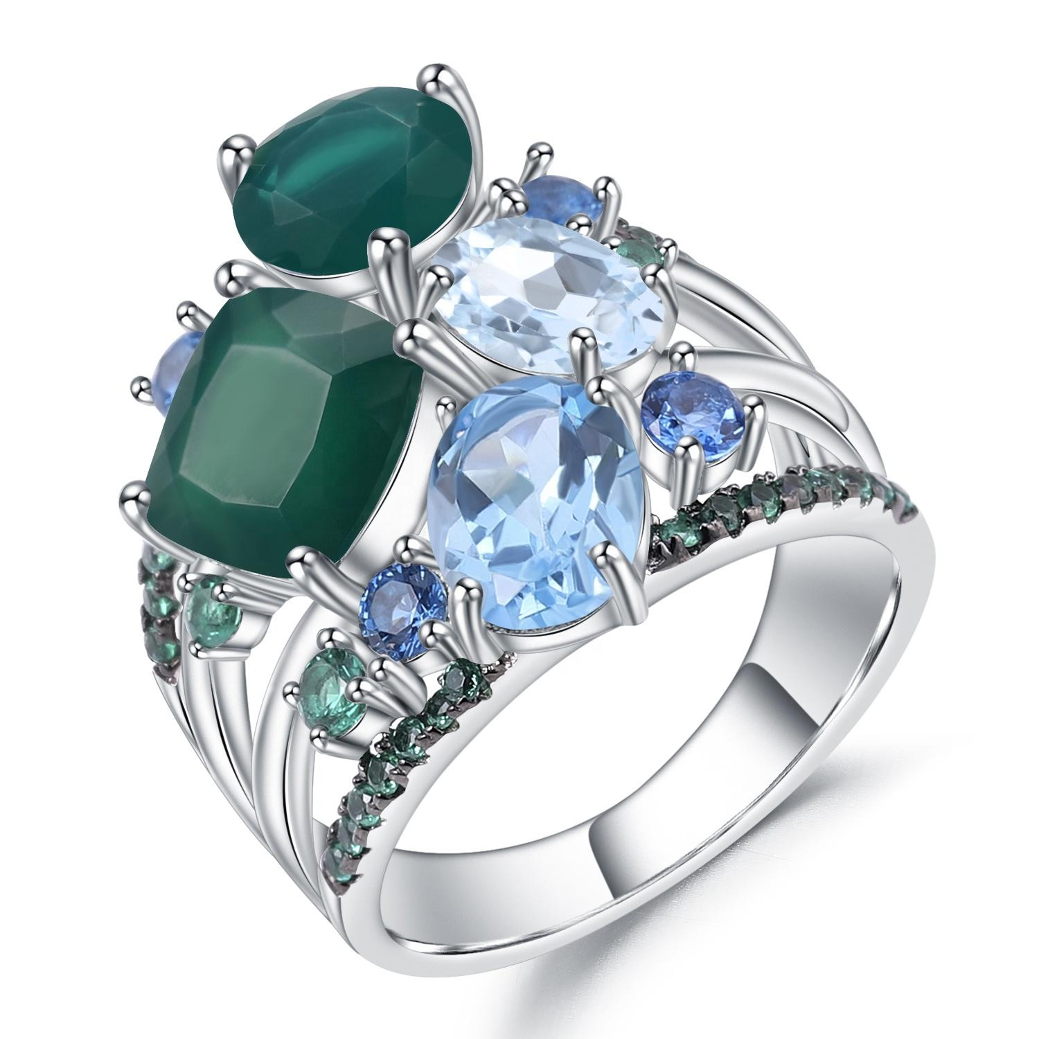 Sapphire rings 925 silver turquoise rings