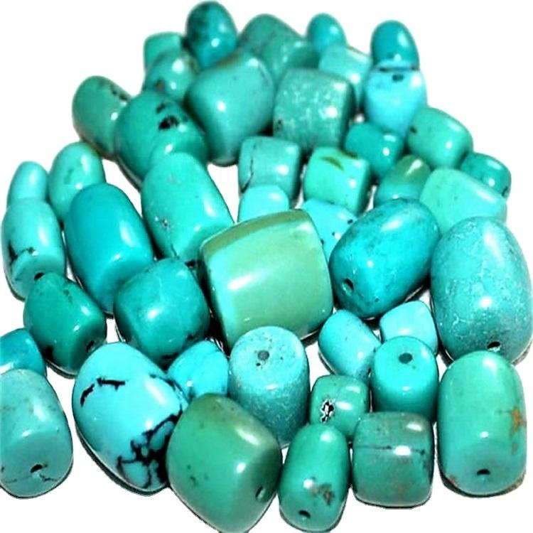 Natural Turquoise Drum Beads Brown Green Gemstone